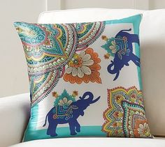 """Elephant Scarf Print Pillow Cover, 20"""", Multi"""