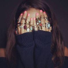 Jewels: sweater, boho, bulk, ring, nail polish, ring, boho, boho ...