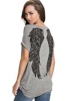 Wings Print Short Sleeve T-Shirt