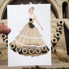 Armenian fashion illustrator Edgar Artis uses stylized paper cut outs and everyday objects to create beautiful dresses. His creative fashion sketches include such items as rose petals, various plants and food, even buildings. Unique Drawings, 3d Drawings, Moda 3d, Arte Fashion, Photo Images, Fashion Design Sketches, Creative Art, Art Lessons, Amazing Art