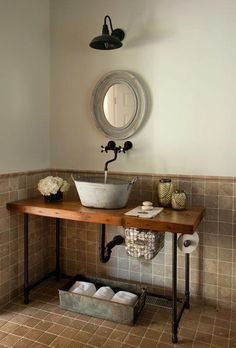 furniture magnificent rustic powder room vanity with metal bucket sink and wall mounted oil rubbed bronze faucet above reclaimed wood worktops using cast iron pipe table legs Industrial Bathroom Vanity, Diy Bathroom Vanity, Bathroom Storage, Bathroom Ideas, Wood Vanity, Master Bathroom, Vanity Sink, White Bathroom, Bathroom Faucets
