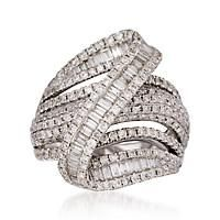 """""""2.85 ct. t.w. Pave Diamond Zig Zag Ring in 18kt White Gold. Size 7"""": """"In a sparkling tumble, this gorgeous 2.85 ct. t.w.… #Jewelry #Watches"""