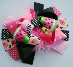 boutique PINK WATERMELON FUNKY fun hair bow by andjane on Etsy
