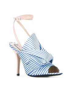 N°21 | Blue Knotted Striped Satin And Leather Sandals | Lyst