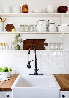 open shelving. farmhouse sink. subway tile. wood counter tops. #kitchen