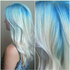Hair Inspiration  This Blue Blonde melt waves look is so beautiful. Can be achieved using our Blonde Extensions #60 | Shop our dyeable extensions☝#hairgoals
