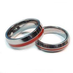 8759e4d1d2b6 Tungsten Thin Red Line Firefighter Ring | Brotherhood® Band Firefighter  Ring, Firefighters, Too