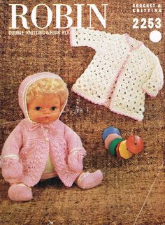 stunning knitting pattern Instructions to knit an outfit in double-knitting and 4-ply, for a doll 15 inches tall.  Outfit consists of:  Dress Coat