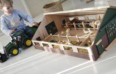 Wood toy barn