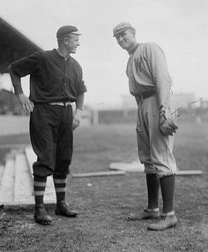 Here is a 1912 Harris & Ewing photograph of perhaps two of the most iconic pitchers of the deadball era, Christy Mathewson and Walter Johnson. Combined these two pitchers threw for 10,702 innings, struck out 6,016 batters, pitched 966 complete games, had 189 shutouts and won 790 games with a combined 2.15 ERA. I might have to lay down because my head is so dizzy trying to digest those numbers.