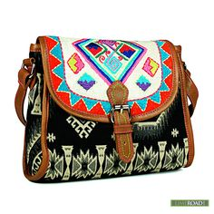 Crafted in jacquard, with a brightly hued beaded flap, this cross ...