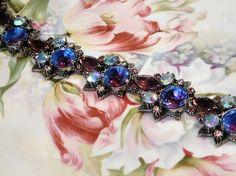 Vintage FLORENZA  Necklace Swarovski Heliotrope Glass Rhinestone Crystal AB Aurora Borealis Necklace Choker Mid Century 1950s Hollywood