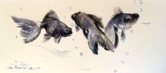 Three Black Moor original watercolor painting 17.5 by ORIGINALONLY