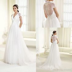 2014 Stunning Delsa Inspired White Tulle Lace Beach Wedding Dresses 2015 Sheer Lace Back A-Line V-Neck Short Sleeve Pleated Bridal Gown, $121.08 | DHgate.com
