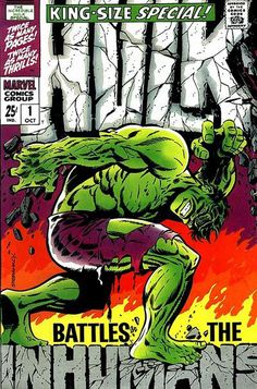 'The Incredible Hulk' King-Size Special Cover by Jim Steranko. [Marie Severin changed Hulk's face a little bit, because Marvel Editorial did not like the version that Steranko originally drew]. Marvel Comics, Hq Marvel, Marvel Comic Books, Fun Comics, Comic Books Art, Comic Art, Comic Superheroes, Marvel Universe, Jim Steranko