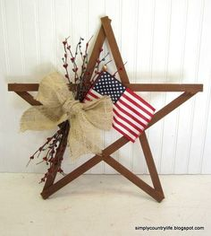 s 16 patriotic wreaths that will fill you with pride, crafts, seasonal holiday decor, wreaths, Scrap Wood Star and Burlap