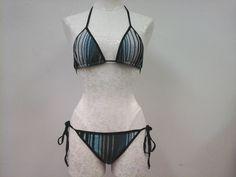 Karina Grimaldi Teal Striped Black Knit Multi 2 Piece Bikini Swimsuit  Sz S New #KarinaGrimaldi #Bikini