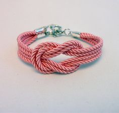 Light pink knotted nautical rope bracelet with silver by ammame33, $13.00