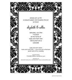 black damask invitation black and white party invitations