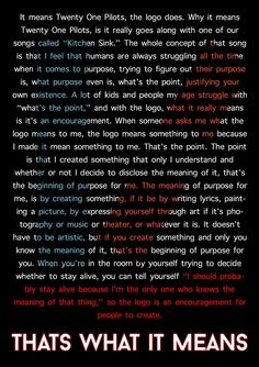 Tyler Joseph on the meaning of the twenty one pilots logo