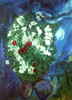 Marc Chagall. Bouquet with Flying Lovers (1947).