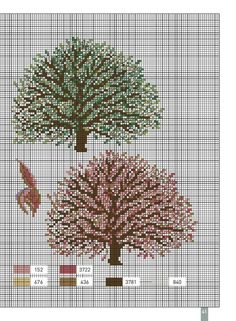 Cross Tree, Cross Stitch Tree, Cross Stitch Flowers, Cross Stitch Patterns, Charts And Graphs, Love Bugs, Art Sketchbook, Trees To Plant, Cross Stitching
