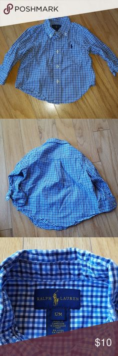 Ralph Lauren toddler button down Boys blue checkered button down Ralph Lauren Size 12mo Ralph Lauren Shirts & Tops Button Down Shirts