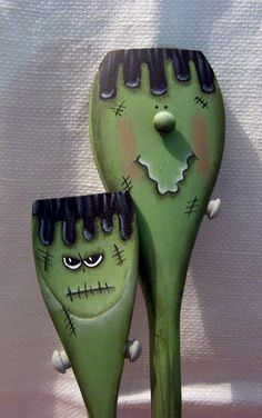 Frankie and his little brother.....wooden spoons I painted