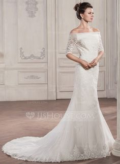 Trumpet/Mermaid Off-the-Shoulder Chapel Train Organza Tulle Lace Wedding Dress With Ruffle (002057291)