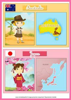 Fiche éducative pour les enfants sur les pays cartes à imprimer