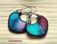 Alcohol inks on polymer clay make your own beads for earrings or pendant tutorial
