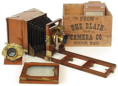 1890s Blair Reversible Back Camera with patent extension back (4 x 5 to 5 x 7 inch conversion). Outfit includes rail extensions, extra backs and lenses to match formats. and plateholders.