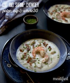 This Creamy Cod & Shrimp Chowder is totally dairy free and compliant with both AIP & the Whole30. Check out the recipe at http://meatified.com!