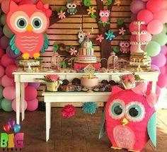 Un Búho para tu primer año Owl Themed Parties, Owl Parties, Owl Birthday Parties, Wild One Birthday Party, Baby Party, Baby Birthday, Owl 1st Birthdays, Kitten Party, Girls Party Decorations