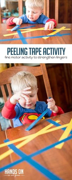 Peel tape off the table (fine motor skills!) via Jamie Reimer Peel tape off the table (fine motor skills! Fine Motor Activities For Kids, Motor Skills Activities, Toddler Learning Activities, Sensory Activities, Infant Activities, Fine Motor Skills, Kids Learning, Sensory Rooms, Fine Motor Activity