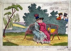 c. 1820: Lady Strachan and Lady Warwick making love in a park, while their husbands look on