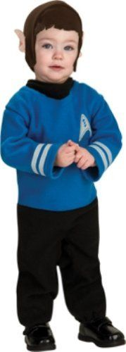 Star Trek Romper And Headpiece Spock Rubie's Costume Co. $9.84. Polyester. Spock headpiece also included. Rubies' has the costumes and accessories you and your family will enjoy at Halloween and all year long. Printed blue shirt romper with federation insignia for that cool Spock look. Snap closures at the legs for easy changes. Officially licensed star trek costume