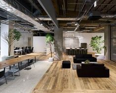 Multi-levelled surfaces of polished concrete, wood and white gravel mark out the different areas within this open-plan Tokyo office designed by Torafu Architects. Corporate Office Design, Modern Office Design, Office Interior Design, Office Interiors, Office Designs, Corporate Offices, Office Space Design, Kitchen Interior, Room Interior