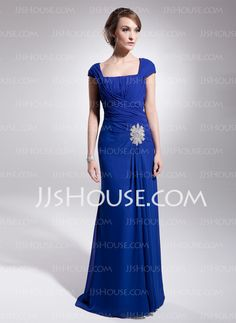 A-Line/Princess Square Neckline Sweep Train Chiffon Mother of the Bride Dress With Ruffle (008014540)