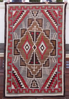 This is a magnificent weaving!  Look at the detail! 1930s Crystal Navajo Rug - Home Spun Wool