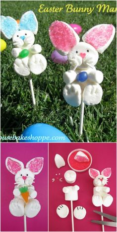 Easter bunny marshmallow pops 40 Fun and Creative Easter Crafts for Kids and Toddlers Marshmallow Crafts, Marshmallow Pops, Easter Games, Easter Treats, Easter Food, Easter Recipes, Diy Ostern, Easter Cupcakes, Easter Holidays