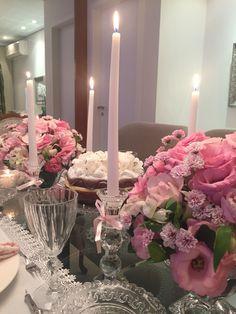 Mesa posta branca&rosa