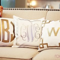 Metallic monogram pillows.