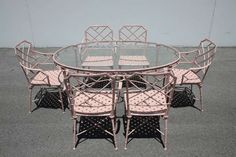 Chinese Chippendale Brown Jordan Patio Set 6 Chairs & Oval Table | From a unique collection of antique and modern garden furniture at http://www.1stdibs.com/furniture/building-garden/garden-furniture/