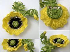 yellow poppies - много цветов в тунисской технике некоторые с пошаговым описанием