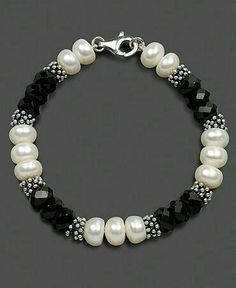 Check the way to make a special photo charms, and add it into your Pandora bracelets. Sterling Silver Bracelet, Cultured Freshwater Pearl and Onyx by becky Pandora Jewelry, Pearl Jewelry, Wire Jewelry, Beaded Jewelry, Jewelery, Jewelry Bracelets, Pandora Bracelets, Ankle Bracelets, Handmade Bracelets