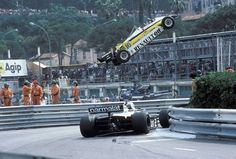 Rene Arnoux's Renault out of the race on lap 15, while Patrese passes the scene, Monaco. 1982