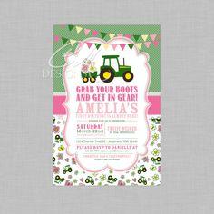 Pink tractor birthday invitation custom printable 1000 via girl tractor birthday invitation by designsbycassiecm on etsy filmwisefo
