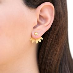 Pair of gold ear jacket earrings, sterling silver earring jackets, bridesmaid jewelry, modern double sided earrings, front back earrings