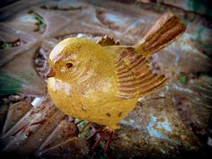 Mustard Yellow Bird Painted Distressed by andyourbirdisgreen, $10.00